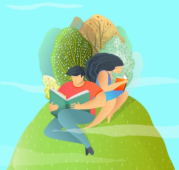 Ilustración de vector de diseño de estilo plano, pareja de enamorados leyendo libros fuera.