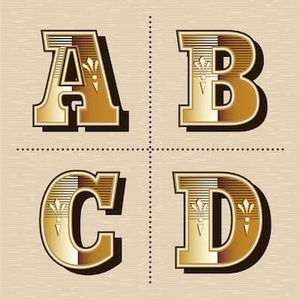 Ilustración de vector de diseño de fuente de letras del alfabeto occidental vintage (a, b, c, d)