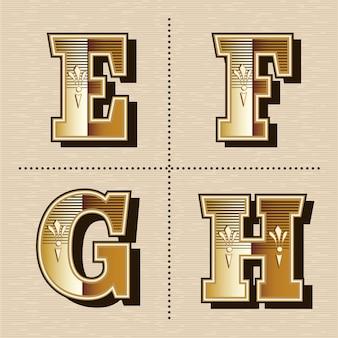 Ilustración de vector de diseño de fuente de letras del alfabeto occidental vintage (e, f, g, h)