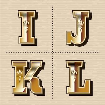 Ilustración de vector de diseño de fuente de letras del alfabeto occidental vintage (i, j, k, l)