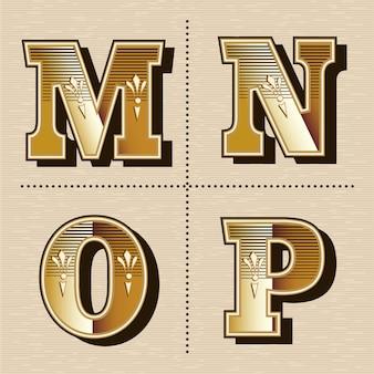 Ilustración de vector de diseño de fuente de letras del alfabeto occidental vintage (m, n, o, p)