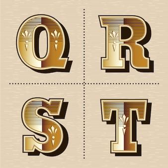 Ilustración de vector de diseño de fuente de letras del alfabeto occidental vintage (q, r, s, t)