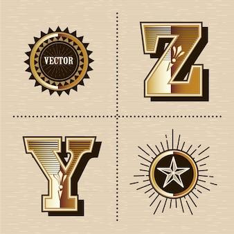 Ilustración de vector de diseño de fuente de letras del alfabeto occidental vintage (y, z)