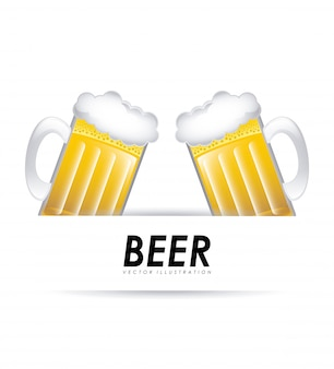 Ilustración de vector de diseño gráfico de cerveza