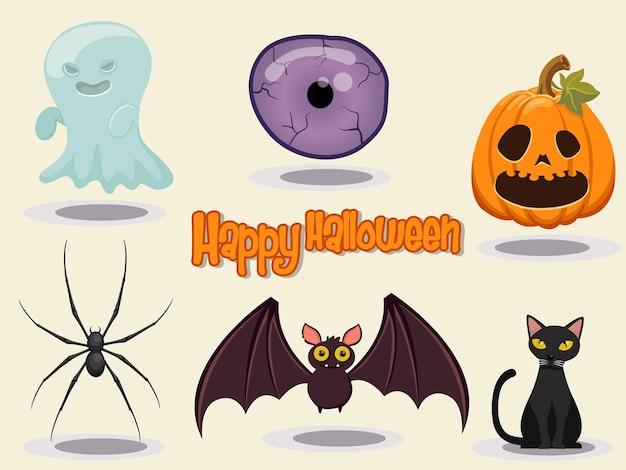 Ilustración de vector de diseño de icono de halloween feliz elementos de diseño de halloween