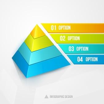 Ilustración de vector de diseño infográfico de pirámide aislado en blanco