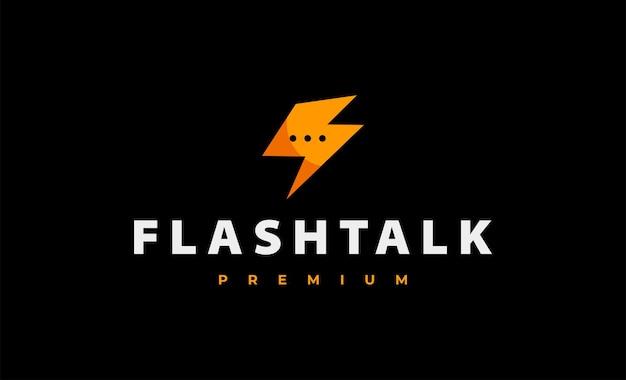 Ilustración de vector de diseño de logotipo de chat flash