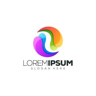 Ilustración de vector de diseño de logotipo colorido