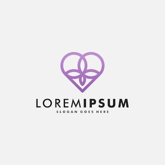 Ilustración de vector de diseño de logotipo de corazón de amor abstracto