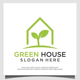 Ilustración de vector de diseño de logotipo de invernadero