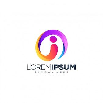 Ilustración de vector de diseño de logotipo letra i