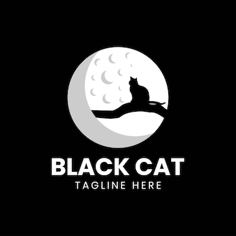 Ilustración de vector de diseño de logotipo de luna de gato