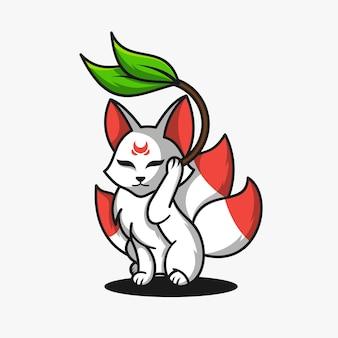 Ilustración de vector de diseño de logotipo de mascota de personaje de zorro