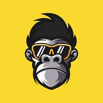 Ilustración de vector de diseño de logotipo de mono