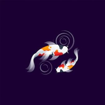 Ilustración de vector de diseño de logotipo de pez koi