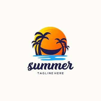 Ilustración de vector de diseño de logotipo de verano