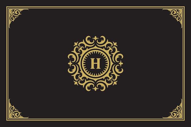 Ilustración de vector de diseño de plantilla de cresta de monograma de logotipo de ornamento vintage de lujo