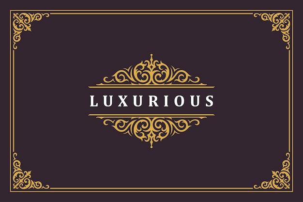 Ilustración de vector de diseño de plantilla de logotipo vintage ornamento de lujo