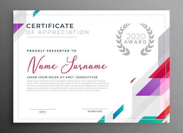 Ilustración de vector de diseño de plantilla de premio de certificado moderno
