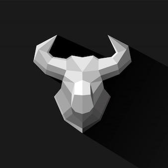 Ilustración de vector de diseño de polígono de bull
