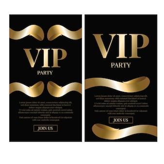 Ilustración de vector de diseño de tarjeta de invitación de oro vip.