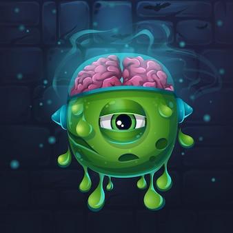 Ilustración de vector divertido de dibujos animados de monstruos de carácter babosa con cerebros