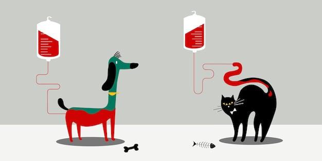 Ilustración de vector de donación de sangre animal