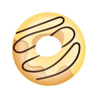 Ilustración de vector de donut en esmalte en estilo plano