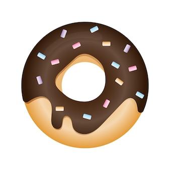 Ilustración de vector de un donut en glaseado de chocolate donut de estilo plano con chispitas