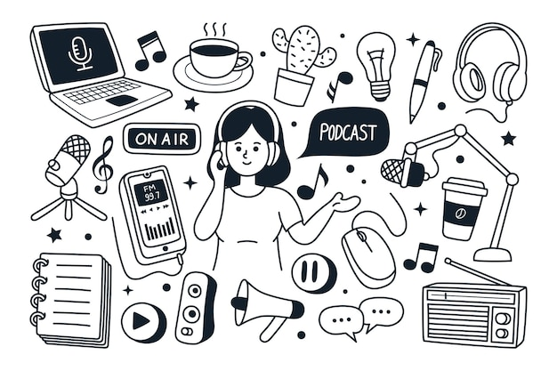 Ilustración de vector de doodle dibujado a mano de podcast