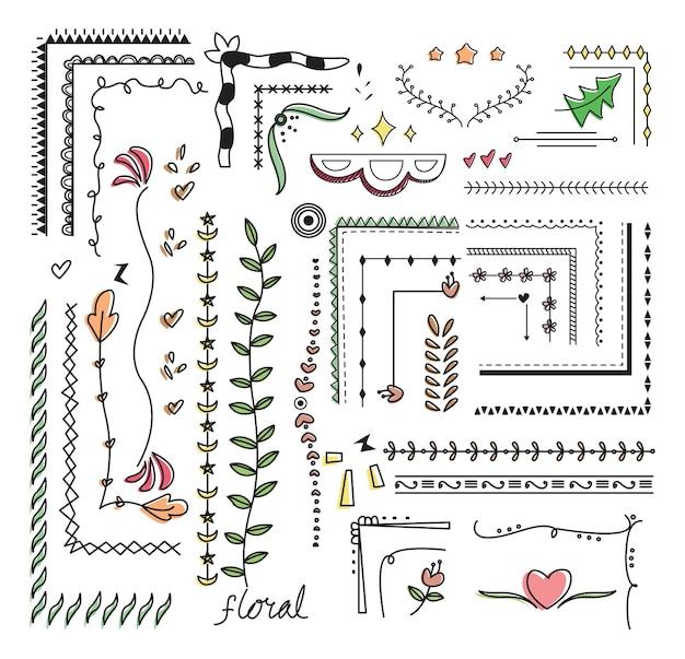 Ilustración de vector de doodle de frontera dibujado a mano