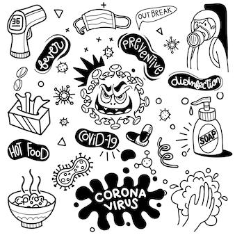 Ilustración de vector de doodle lindo para covid-19, elemento de doodle de virus corona para diseño infográfico