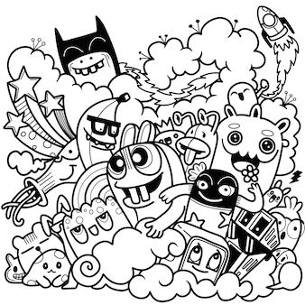 Ilustración de vector de doodle lindo, doodle conjunto de monstruo divertido