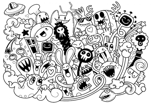 Ilustración de vector de doodle lindo monstruo, estilo de dibujos animados