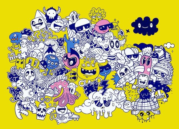 Ilustración de vector de doodle lindo monstruo mano dibujo doodle