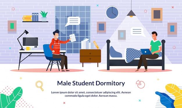 Ilustración del vector dormitorio del estudiante masculino, plano.