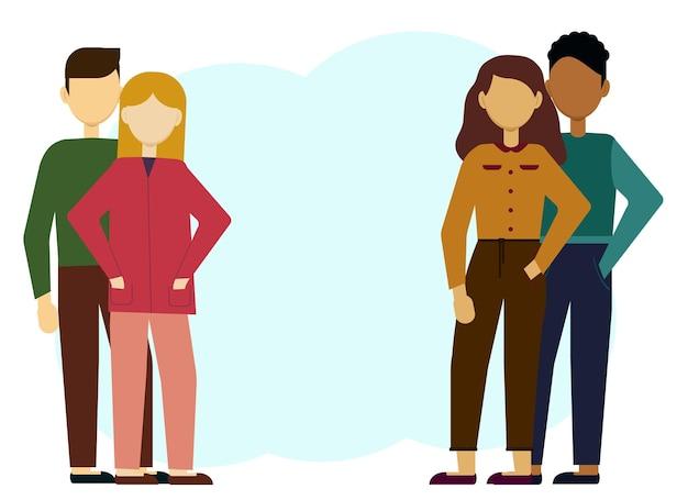 Ilustración de vector de dos jóvenes parejas modernas tradicionales. multinacional