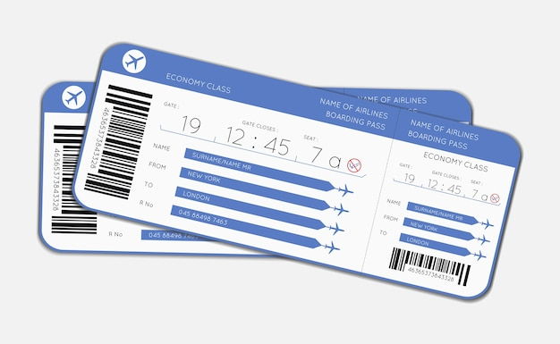 Ilustración de vector de dos tarjetas de embarque para abordar un vuelo