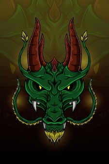 Ilustración de vector de dragón de cuerno doble