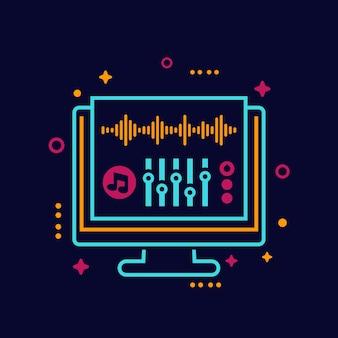 Ilustración de vector de edición de audio y producción de sonido