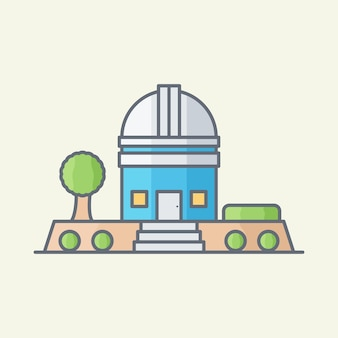Ilustración de vector de edificio de observatorio