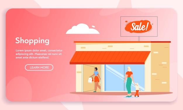 Ilustración de vector de edificio tienda de venta de mercancías. comprador de niña con compras, mujer con niño va de compras. promoción de tienda, venta minorista, descuento, clientes felices.