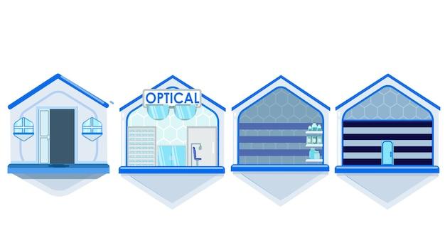 Ilustración de vector de edificios aislados
