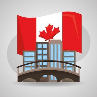Ilustración de vector de edificios urbanos de bandera de canadá montreal