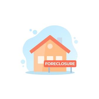 Ilustración de vector de ejecución hipotecaria con casa y signo