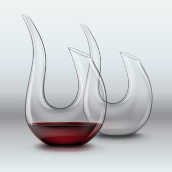 Ilustración de vector de elegantes jarras, vacías y con vino tinto sobre fondo gris degradado