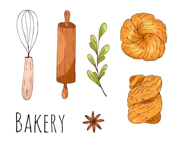 Ilustración de vector con elementos de panadería dibujados a mano