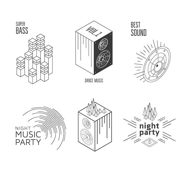 Ilustración de vector de elementos de sonido de diseño de etiqueta de conjunto de música