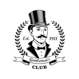 Ilustración de vector de emblema de club de caballeros. hombre de fumar y sombrero de copa, marco de corona de laurel. concepto de bar, pub o tienda para etiquetas o plantillas de insignias