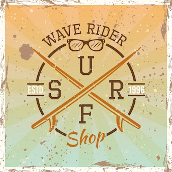 Ilustración de vector de emblema, insignia, etiqueta o logotipo redondo vintage de color surf sobre fondo brillante